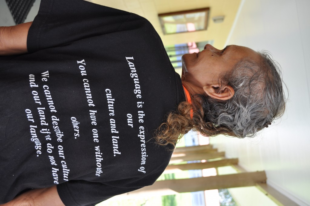 Alexandra Bing in her North Queensland Regional Aboriginal Language Centre t-shirt, Ngirrma Puwal Pukang in 2014