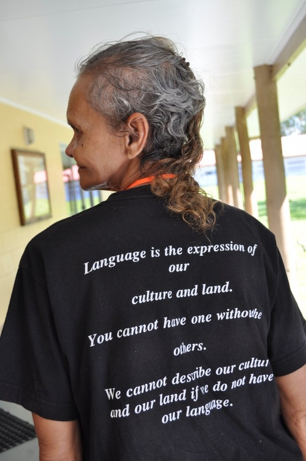 Alexandra Bing in her North Queensland Regional Aboriginal Language Centre t-shirt.